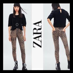 NWT ZARA Hi-Rise Animal Print Skinny Jean